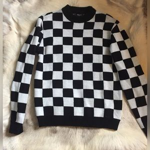 Checkered retro sweater black white men's small